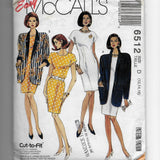 Size 12-16 Women 90s Jackets Dress McCalls 6512 Vintage Sewing Pattern Uncut