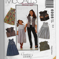 Size 2-4 Girls Toddlers Jumper Vest McCalls 6998 Sewing Pattern Uncut