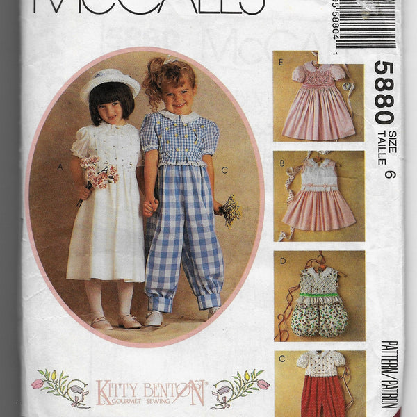 Size 6 Girls 90s Kitty Benton McCalls 5880 Smocked Jumpsuits and Dresses Sewing Pattern / Uncut