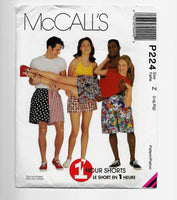 Size Lrg-XL McCalls P224 1-hour 90s Shorts Sewing Pattern Uncut