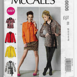 Size 8-16 Easy Blouses Shirts Tunics Tops Tie McCalls Sewing Pattern M6606 / Uncut