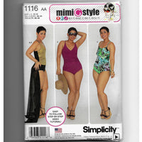 Size 10-18, Mimi G Style Women's Swimsuits & Wrap Skirt Sewing Pattern, Simplicity 1116 /Uncut
