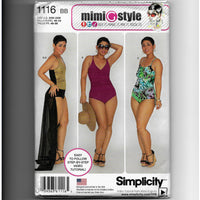Plus Size 20W-28W, Mimi G Style Women's Swimsuits & Wrap Skirt Sewing Pattern, Simplicity 1116 /Uncut