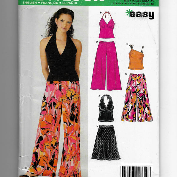 Size 6-16 Women Halter Tops Flared Pants New Look 6383 Sewing Pattern Uncut