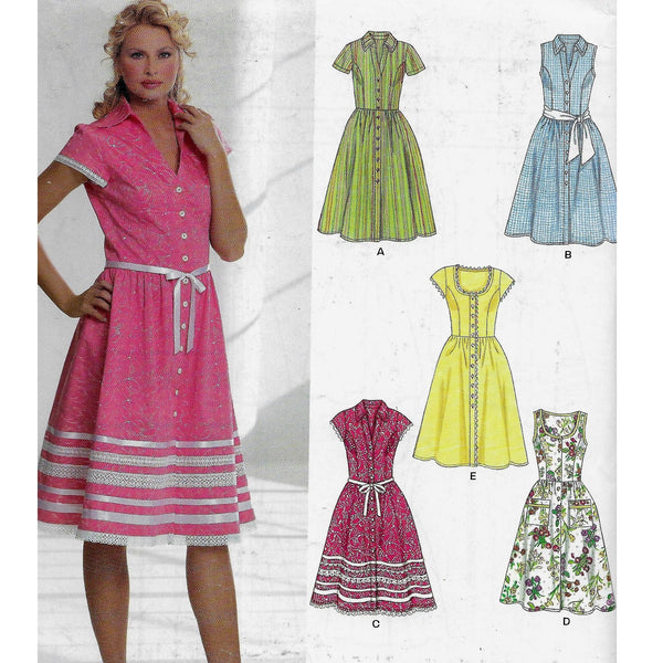Size 8-18 New Look 6587 - 1960s Style Women Dresses Sewing Pattern /Uncut