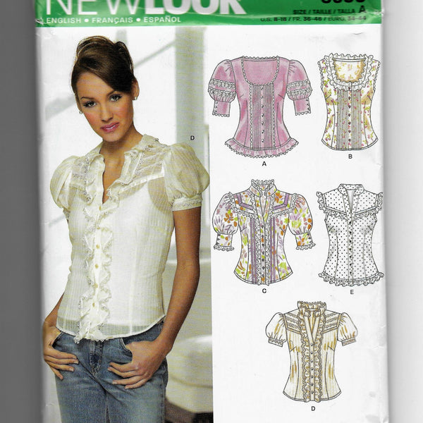 Size 8-18 Women Decorative Ruffle Lace Blouses New Look 6599 Sewing Pattern Uncut