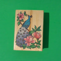 Peacock Wood Mounted Rubber Stamp, Retired 1993 All Night Media 322H