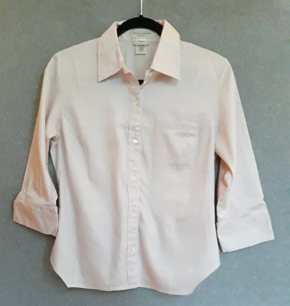 Med, Banana Republic Women's Stretch Button-up Shirt Pink