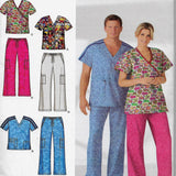 Easy Scrubs Size XS, S, M - Simplicity 4378 Sewing Pattern for Men & Women Tops & Pants / Uncut