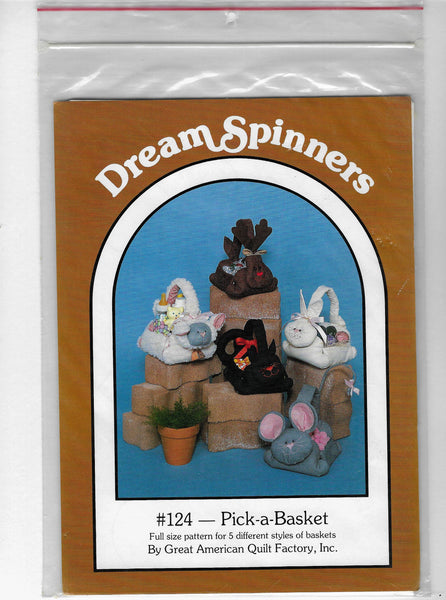 Holiday Animals Baskets Sewing Craft Patterns, Pick-a-Basket, Dream Spinners 124 / Uncut