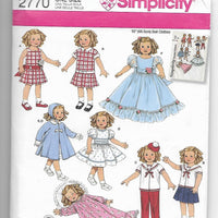 "19"" Doll Clothes Sewing Pattern Simplicity 2770"