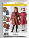 Girls Sizes 3-8, Simplicity 3588, 6 Made Easy Dresses Sewing Pattern / Uncut