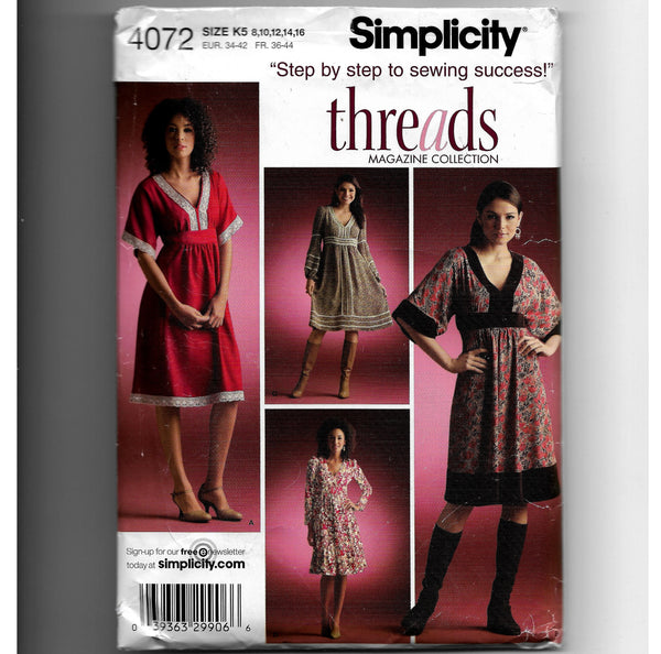 Size 8-16, Simplicity 4072 Threads Collection Women's High-waisted Pullover Dresses Sewing Pattern, Uncut