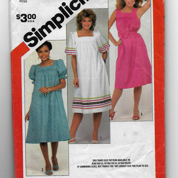Size 16-20, Vintage 1980s Pullover Dresses Sewing Pattern, Simplicity 5921