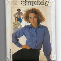 80s Vintage Western Shirts Simplicity 7231 Sewing Pattern, Misses 10-14, Uncut