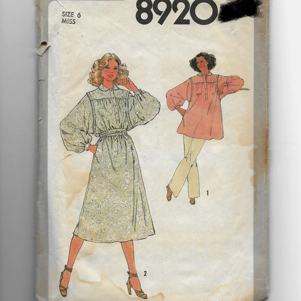 Size 6, Vintage 1970s Simplicity 8920 Women's Dress Tunic Sash Sewing Pattern