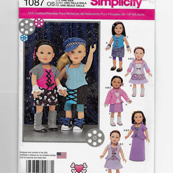 "18"" Dolls Clothes Sewing Pattern Simplicity 1087 Uncut"