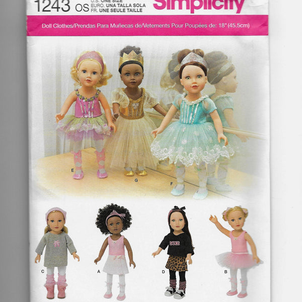 "18"" Dolls Ballerina Dance Clothes Sewing Pattern Simplicity 1243 Uncut"