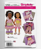 "18"" Dolls Clothes with Ruffles Sewing Pattern Simplicity 1296 Uncut"