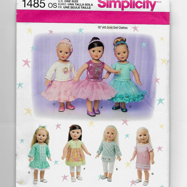 "18"" Dolls Clothes Sewing Pattern Simplicity 1485 Uncut"