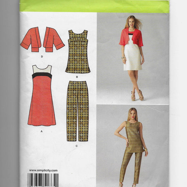 Size 6-14 Women Dress Tunic Jacket Slim Pants Simplicity 1665 Sewing Pattern /Uncut