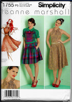 Size 12-20 Women Collared Dresses Sewing Pattern - Leanne Marshall Simplicity 1755 /Uncut