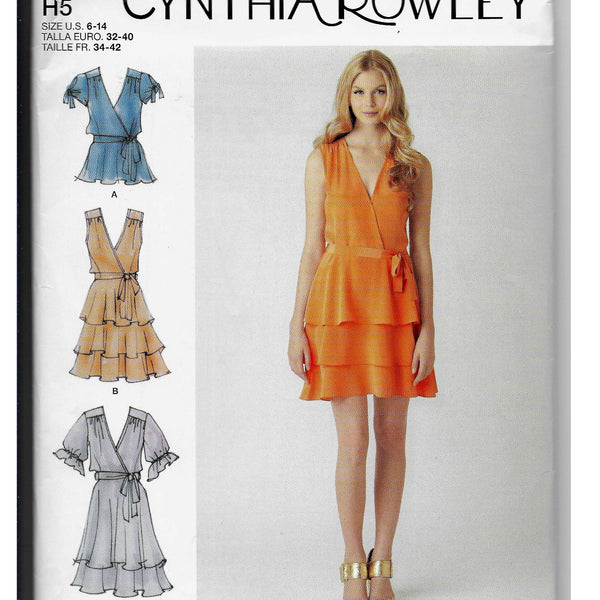 Size 6-14 Women Dress Top Belt Sewing Pattern - Cynthia Rowley Simplicity 1872 /Uncut
