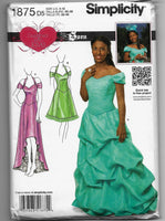 Sizes 4-12 Women Special Occasion Formal Prom Dresses Sewing Pattern Simplicity 1875 Uncut