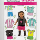 "18"" Dolls Clothes Sewing Pattern Simplicity 1902 Uncut"