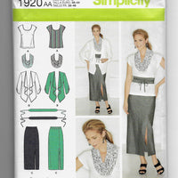 Size 10-18 Women Skirt Top Jacket Scarf Belt Simplicity 1920 Sewing Pattern /Uncut