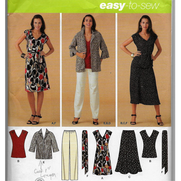 Size 10-18 Simplicity 3506 Easy-to-Sew Women Dress Tops Pants Skirt Tie-Belts