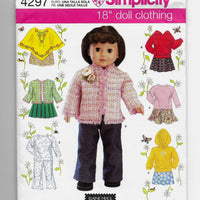 "18"" Dolls Clothes Simplicity 4297 Sewing Pattern Uncut"