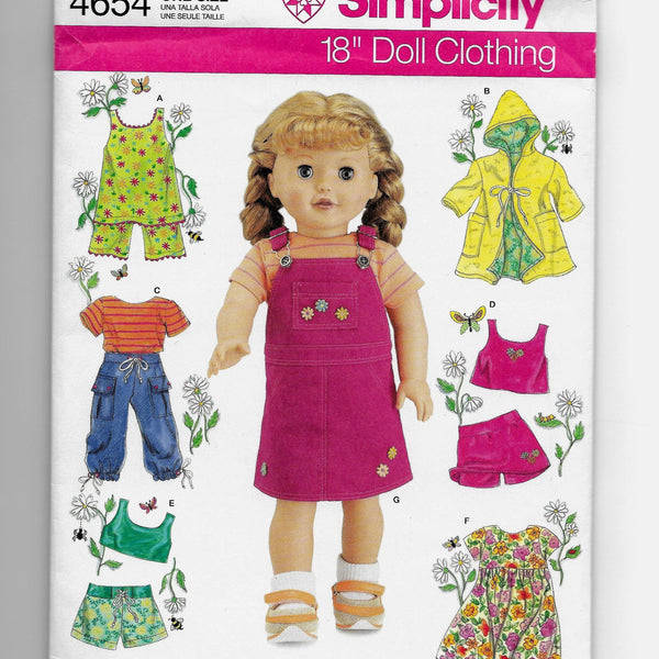 "Size 18"" Dolls Clothes Sewing Pattern Simplicity 4654 Uncut"