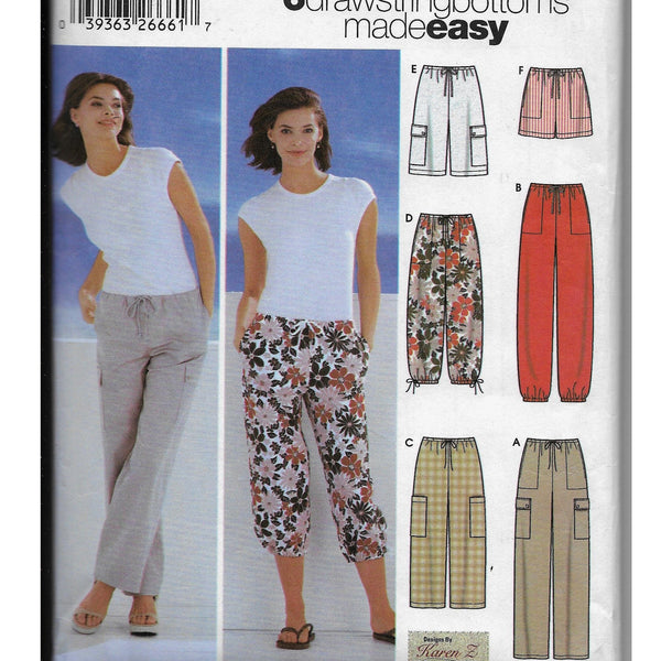 Size 6-12 Simplicity 5562 Women Drawstring Pants Shorts Sewing Pattern