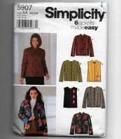 Size XS-S-M Women 6 Jackets Made Easy Simplicity 5907 Sewing Pattern