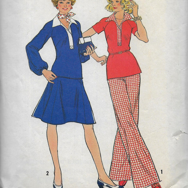Size 6 & 8 - Vintage 70s Pants Skirt Blouses /Two-piece Dresses Simplicity 6801 Sewing Pattern