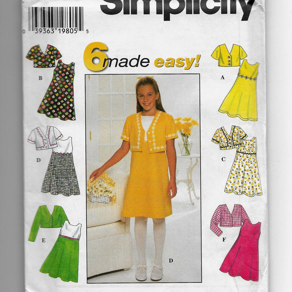 Size 12-14-16 Girls 90s Made Easy Dresses Jackets Simplicity 7463 Sewing Pattern Uncut