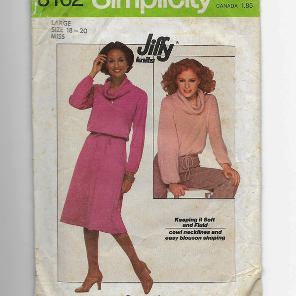 Size 18-20 Vintage 70s Cowl Neck Top Skirt Jiffy Simplicity 8162 Sewing Pattern Uncut