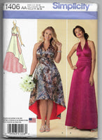 Size 10-18 Formal Special Occasions Prom Dresses Sewing Pattern Simplicity 1406 / Uncut