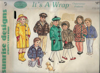 Kid's Outerwear Sewing Pattern, Vintage 1980s Sewing Pattern, Raincoat, hat, Jackets, Coats, Beret Cap, Muff, Sizes 7-14 /Uncut