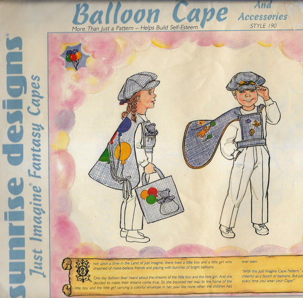 Kids Balloon Cape, Hat, Tote Bag Vintage Sunrise Designs Sewing Pattern Style 910, Uncut