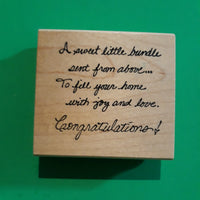 Congratulations ... Sweet Bundle, Wood Mounted Rubber Stamp, Retired Vintage 1990's Alias Smith & Rowe