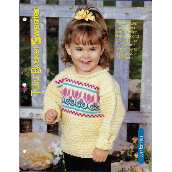 Tulip Baskets Pullover Sweater For Kids Knit Pattern #127123