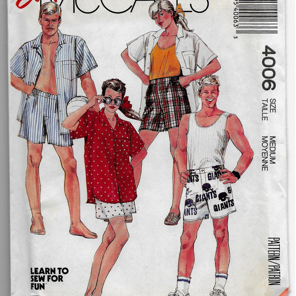 80s Unisex, Men, Teen Boys, Women Shirt and Boxer Shorts Set Vintage Sewing Pattern, McCalls 4006, Size Med/ Uncut