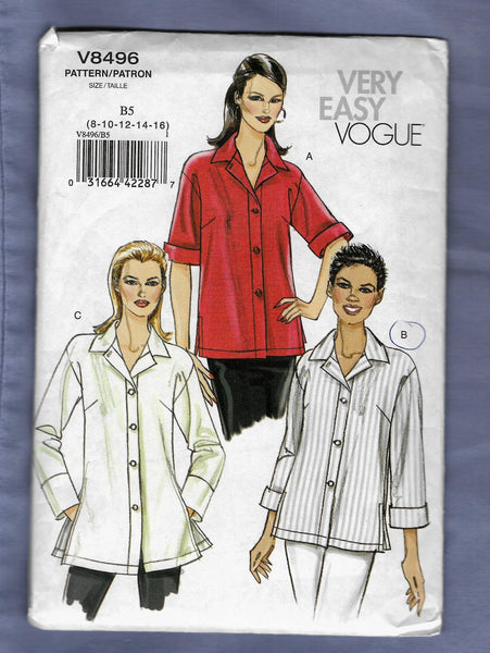 Size 8-16, Very Easy Vogue Women's Shirts Sewing Pattern V8496