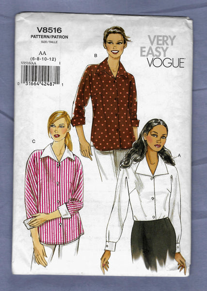 Size 6-12, Very Easy Vogue Women's Shirts V8516 Sewing Pattern
