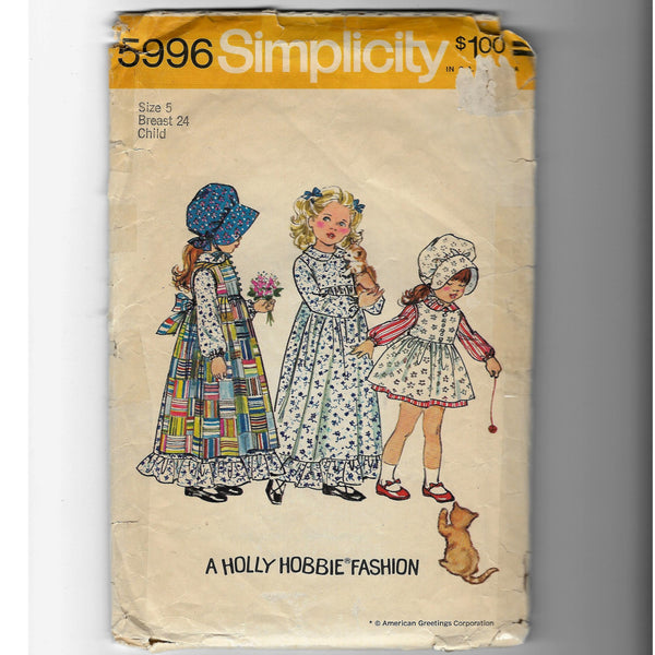 Sz 5, Vintage 70s Holly Hobbie Fashion Girl's Dress Pinafores Bonnet, Simplicity 5996 Sewing Pattern