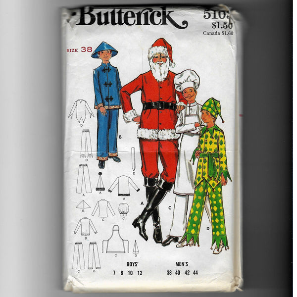 Sz 8, Vintage 70s Men's Costumes Sewing Pattern, Butterick 5103, Santa, Chef, Jester, Chinese Man