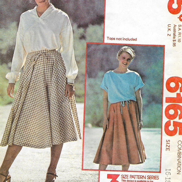 Size 16-20, Vintage 1970s Culotte Skirt McCalls Make It Tonight Fashion 6165 Sewing Pattern, Uncut