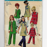 Size 12, Vintage 1970s Girls Dresses Pants Simplicity 8991 Sewing Pattern